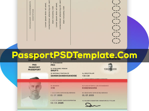 Denmark Passport Template PSD Photoshop Editable Drivers License Fake ID Card Maker PayPal Bitcoin