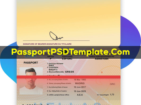 Greek Passport Template PSD Photoshop Editable Drivers License Fake ID Card Maker PayPal Bitcoin