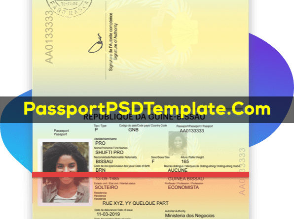 Guinea Bissau Passport Template PSD Photoshop Editable Drivers License Fake ID Card Maker PayPal Bitcoin