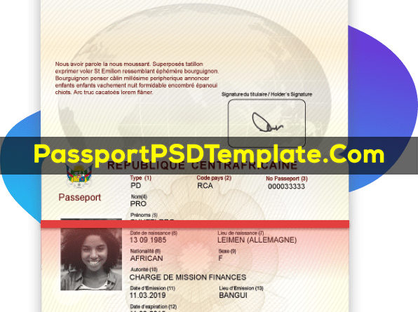 Central African republic Passport Template PSD Photoshop Editable Drivers License Fake ID Card Maker PayPal Bitcoin