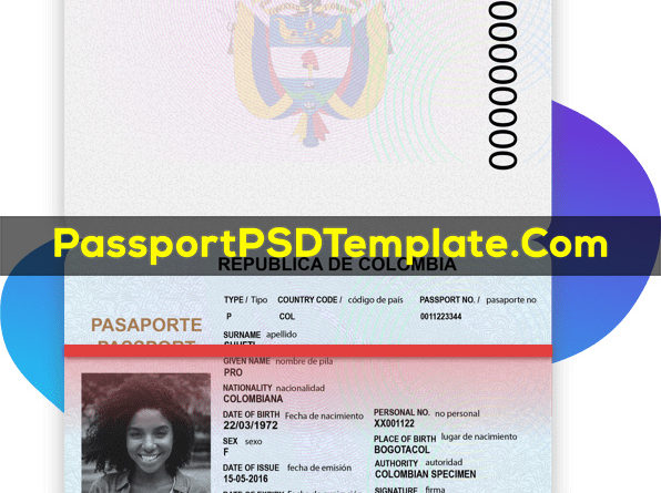 Colombia Passport Template PSD Photoshop Editable Drivers License Fake ID Card Maker PayPal Bitcoin