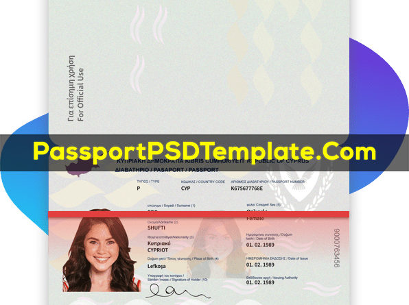 Cyprus Passport Template PSD Photoshop Editable Drivers License Fake ID Card Maker PayPal Bitcoin