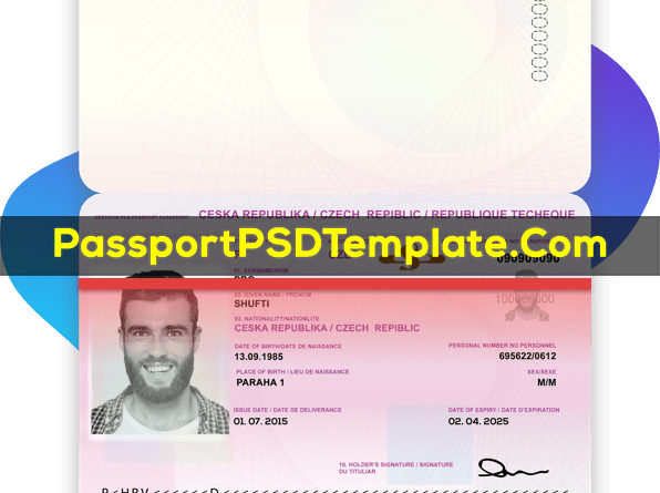 Czech Republic Passport Template PSD Photoshop Editable Drivers License Fake ID Card Maker PayPal Bitcoin