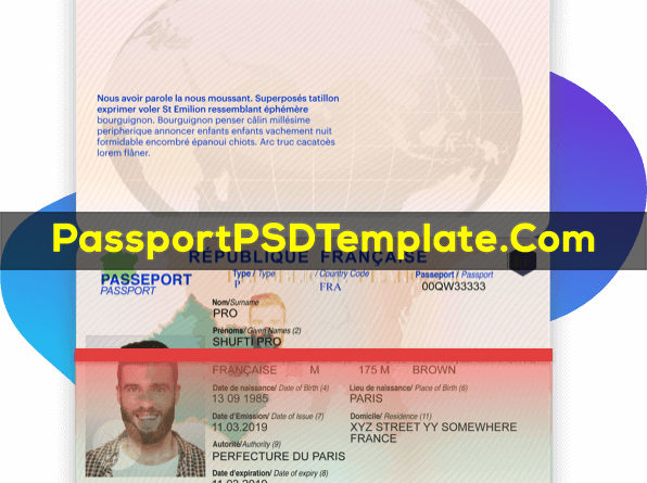 France Passport Template PSD Photoshop Editable Drivers License Fake ID Card Maker PayPal Bitcoin