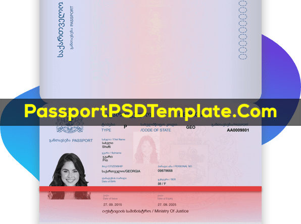 Georgia Passport Template PSD Photoshop Editable Drivers License Fake ID Card Maker PayPal Bitcoin