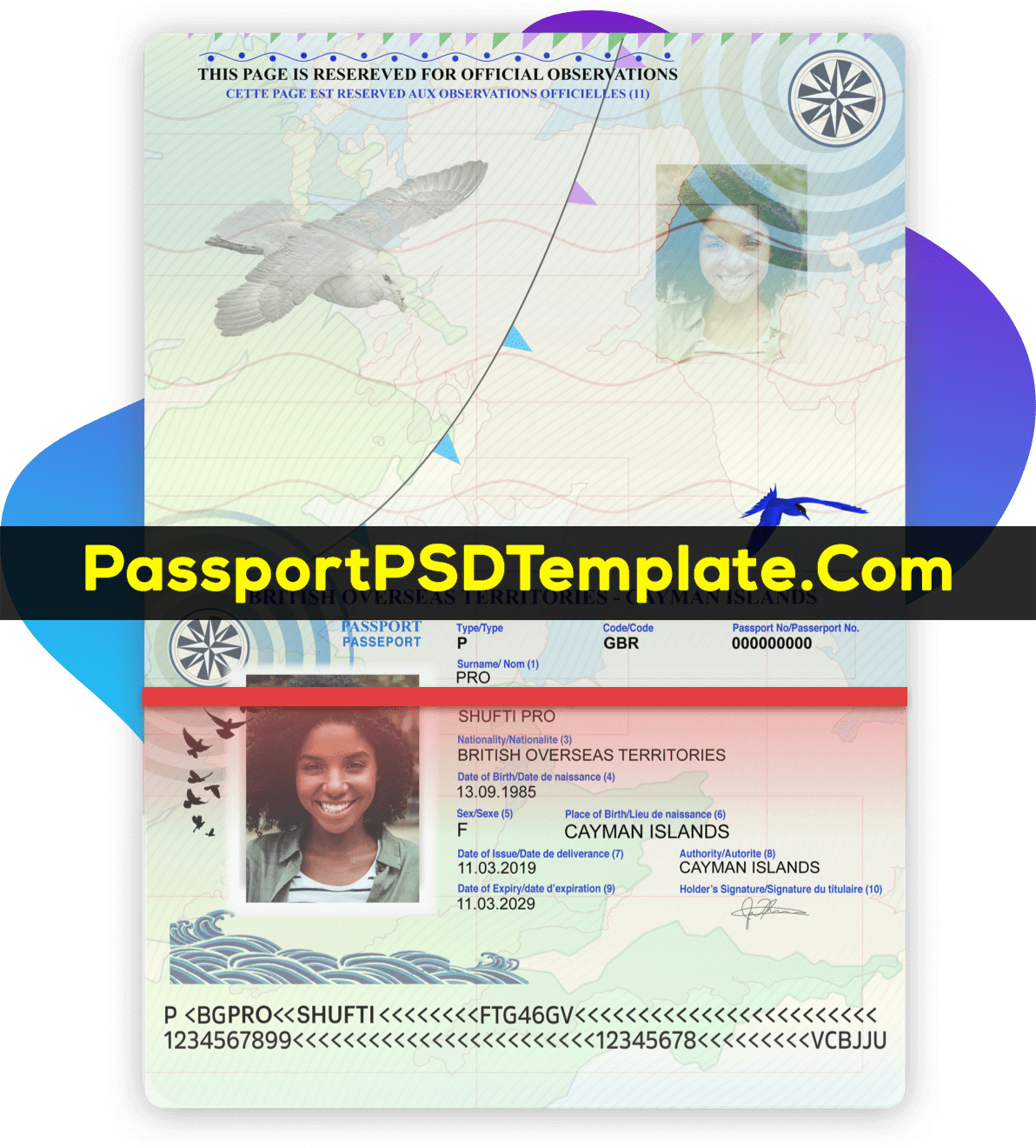 Cayman Island Passport Template PSD Photoshop Editable Drivers License Fake ID Card Maker PayPal Bitcoin