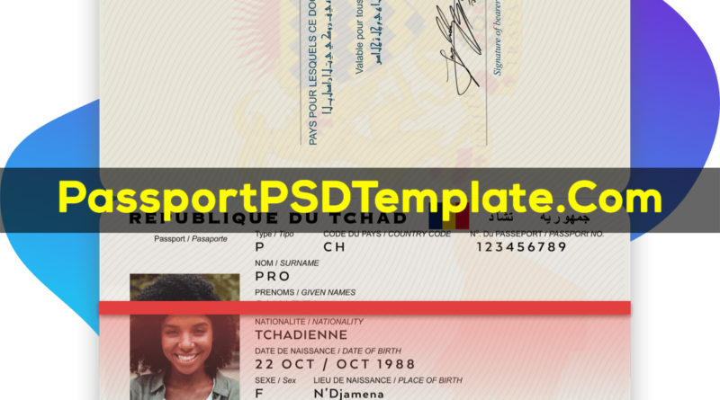 Chad Passport Template PSD Photoshop Editable Drivers License Fake ID Card Maker PayPal Bitcoin