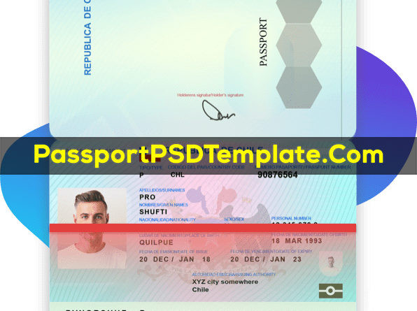 Chile Passport Template PSD Photoshop Editable Drivers License Fake ID Card Maker PayPal Bitcoin