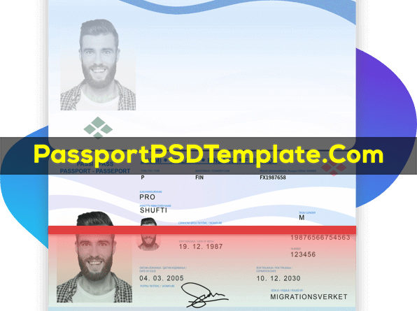 Finland Passport Template PSD Photoshop Editable Drivers License Fake ID Card Maker PayPal Bitcoin