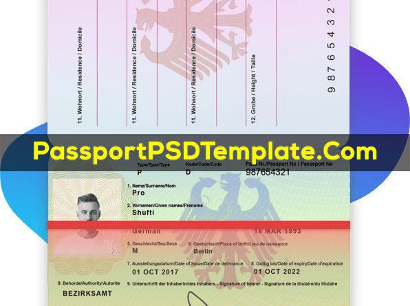 Germany Passport Template PSD Photoshop Editable Drivers License Fake ID Card Maker PayPal Bitcoin