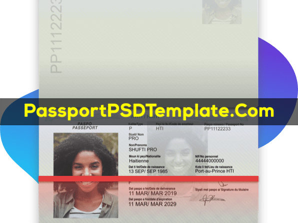 Haiti Passport Template PSD Photoshop Editable Drivers License Fake ID Card Maker PayPal Bitcoin