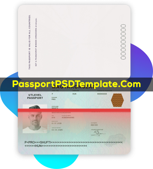 Hungary Passport Template PSD Photoshop Editable Drivers License Fake ID Card Maker PayPal Bitcoin