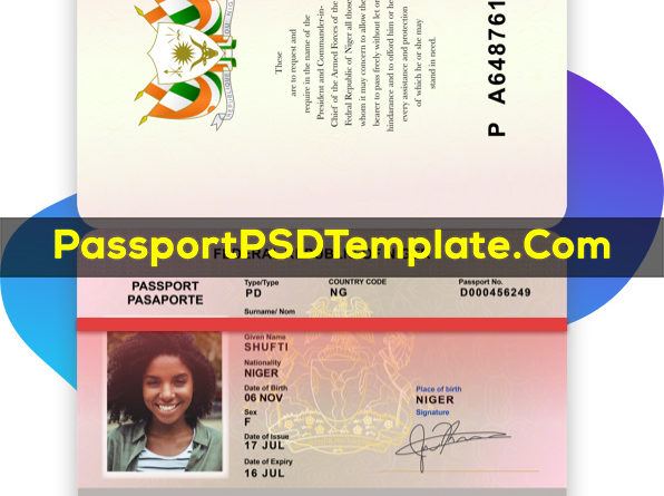 Republic of Niger Passport Template PSD Photoshop Editable Drivers License Fake ID Card Maker PayPal Bitcoin