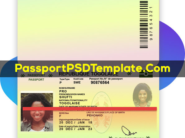 Republique Togolaise Passport Template PSD Photoshop Editable Drivers License Fake ID Card Maker PayPal Bitcoin
