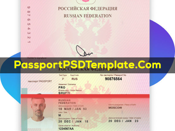 Russia russian federation Passport Template PSD Photoshop Editable Drivers License Fake ID Card Maker PayPal Bitcoin