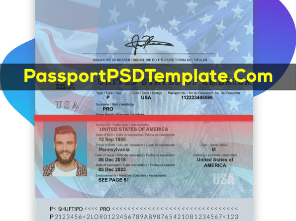 USA United state of america Passport Template PSD Photoshop Editable Drivers License Fake ID Card Maker PayPal Bitcoin
