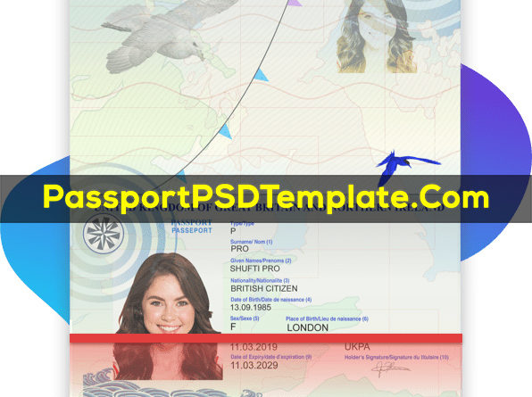 United Kingdom Passport Template PSD Photoshop Editable Drivers License Fake ID Card Maker PayPal Bitcoin