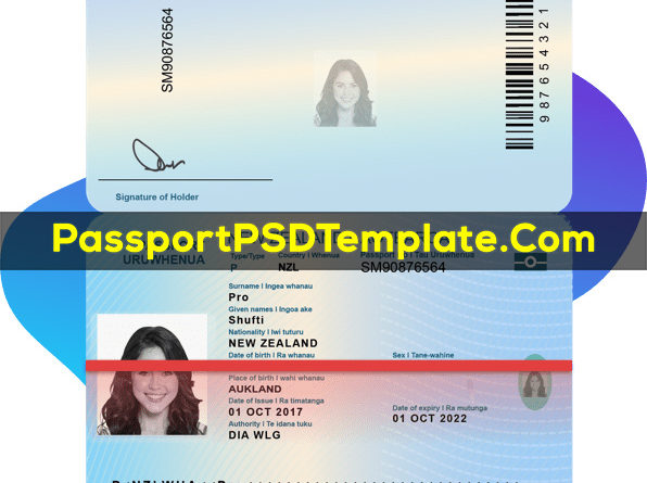 new zealand Passport Template PSD Photoshop Editable Drivers License Fake ID Card Maker PayPal Bitcoin