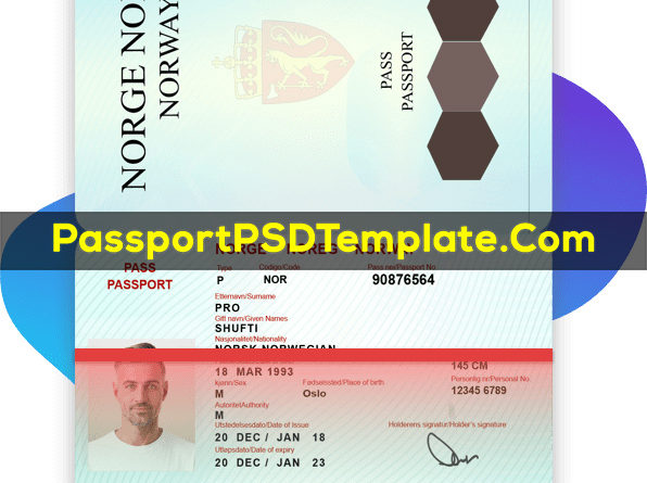 norway Passport Template PSD Photoshop Editable Drivers License Fake ID Card Maker PayPal Bitcoin