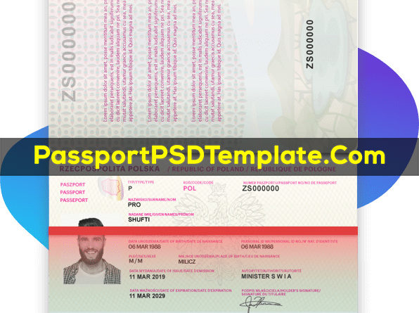 poland Passport Template PSD Photoshop Editable Drivers License Fake ID Card Maker PayPal Bitcoin