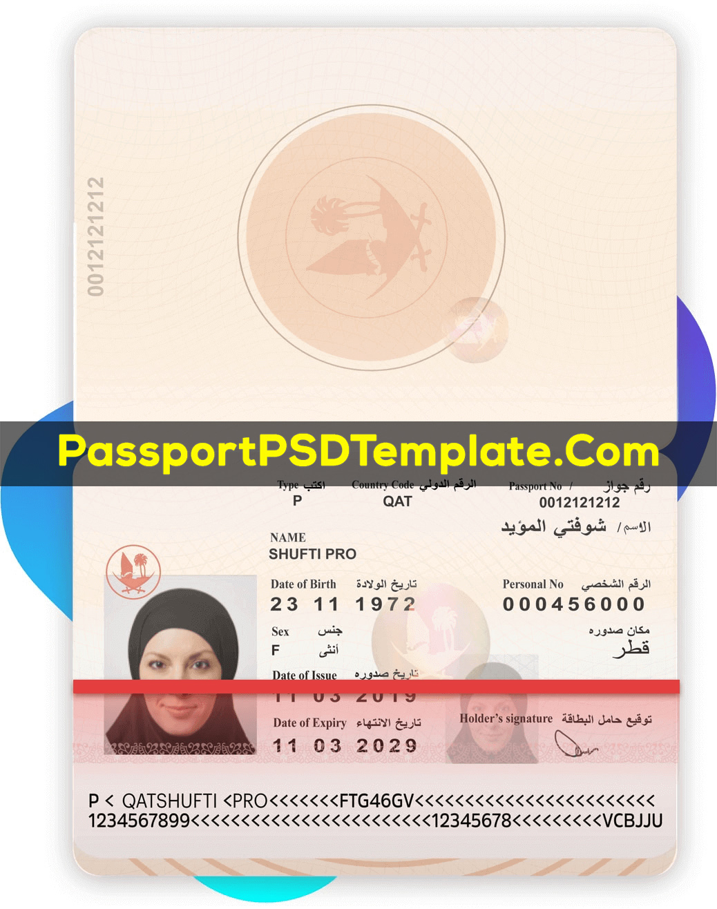 qatar Passport Template PSD Photoshop Editable Drivers License Fake ID Card Maker PayPal Bitcoin