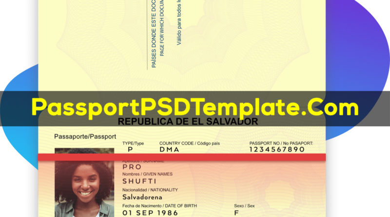 salvador Passport Template PSD Photoshop Editable Drivers License Fake ID Card Maker PayPal Bitcoin