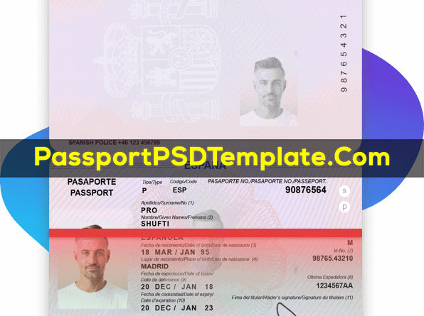 spain Passport Template PSD Photoshop Editable Drivers License Fake ID Card Maker PayPal Bitcoin